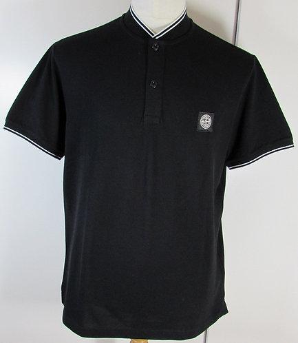 681521518 Stone Island Short Sleeved Baseball Collar Shirt in Black (V0029)