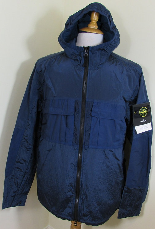 701543632 Stone Island 'Nylon Metal Watro Ripstop' Hooded Jacket in Blue V0028)