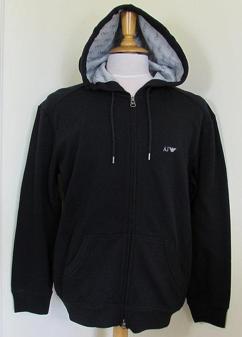 06M34 RN Armani Jeans Hooded Full Zip Sweatshirt in Black (Nero12)