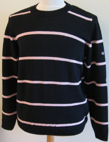 SAINT JAMES 'RIVOLI' Round Neck Knit in Navy with Tremiere stripe