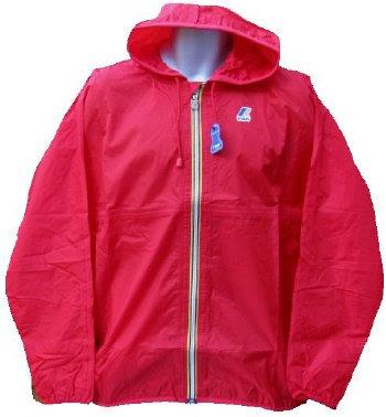 K-WAY 'CLAUDE' Hooded Rain Jacket in RED