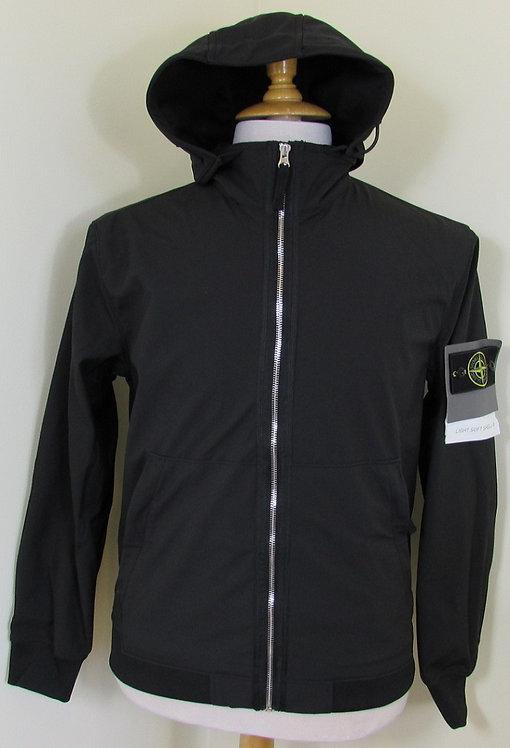 701543427 Stone Island 'Light Soft Shell-R'  Hooded Jacket in Black (V0029)