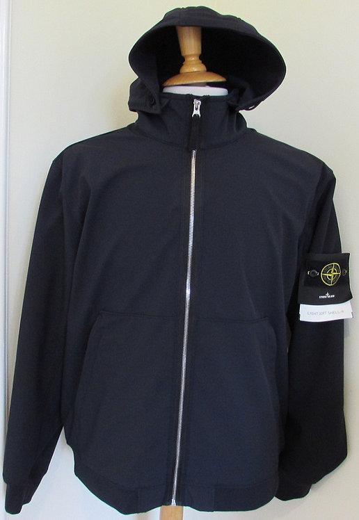 701543427 Stone Island 'Light Soft Shell-R'  Hooded Jacket in Navy (V0020)