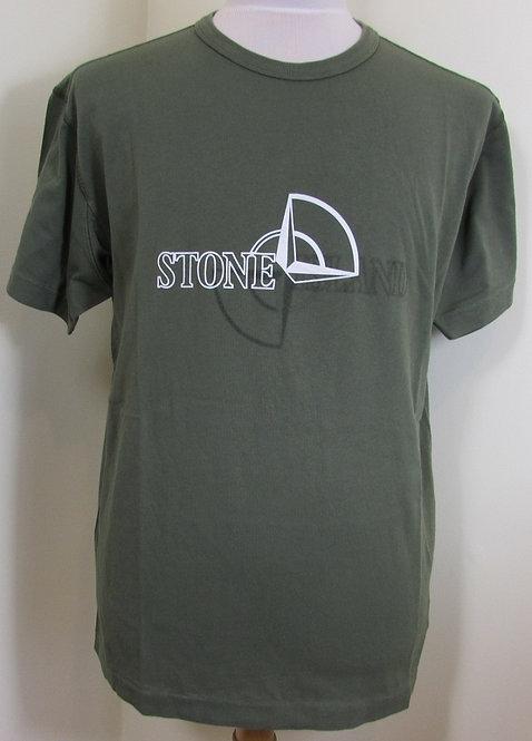 711523381 Stone Island Round Neck Tee Shirt in Green (V0058)