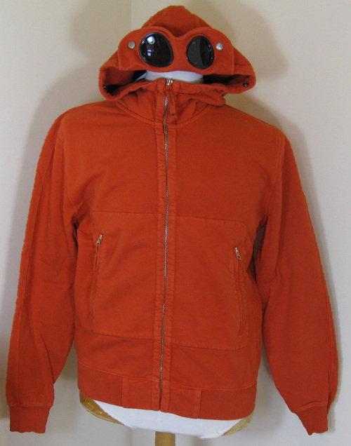 CPUT02953 C.P. Company Goggle Hood Sweatshirt in Orange (460)