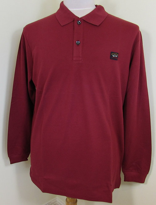 C0P1001 Paul & Shark Polo Long Sleeved Shirt in Red (142)