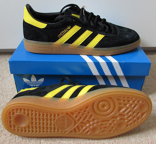 Adidas Handball Spezial Trainers in Black with Yellow Stripes