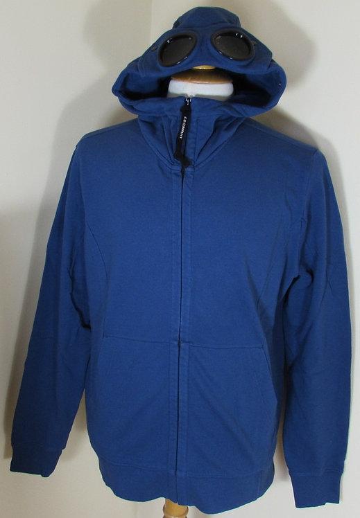 02CMSS086A005029W C.P. Company Goggle Hood Full Zip Sweatshirt in Blue (875)