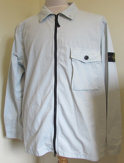 7215114WN Stone Island Old Effect Overshirt in Cielo (V0141)