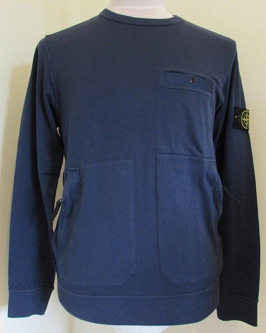 721561759 Stone Island Round Neck Sweatshirt in Marine Blue (V0028)