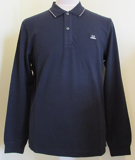 08CMPL070A C.P. Company Long Sleeved Polo Shirt in Navy (888)