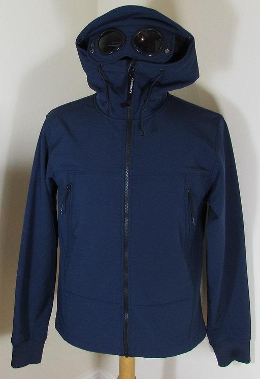 16WCPUF04085 C.P. Company Soft Shell Goggle Hood Jacket in Dark Blue (887)
