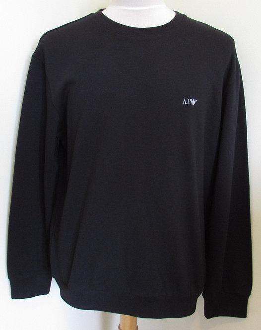 06M28 RN Armani Jeans Round Neck Sweatshirt in Black (C12 Nero)