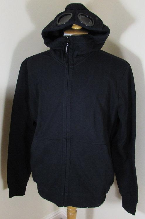 02CMSS086A005029W C.P. Company Goggle Hood Full Zip Sweatshirt in Black (999)