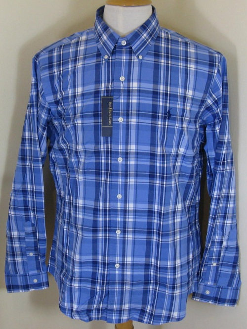 Ralph Lauren Polo Long Sleeved Shirt in Blue and White (CR28)