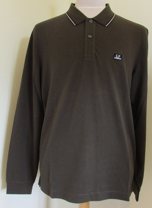 05CMPL041A C.P. Company Long Sleeve Polo Shirt in Green (922)