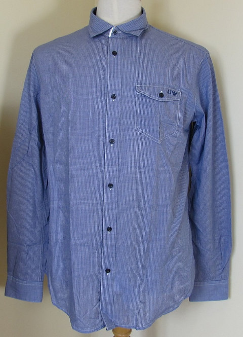 UJPC214101765 Armani Jeans Long Sleeved Shirt in Blue micro check