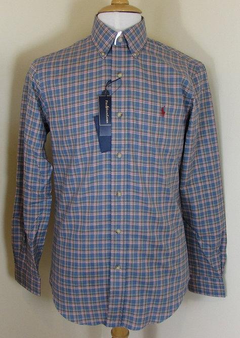 Ralph Lauren Long Sleeved Shirt in Blue and Khaki (CR-35B)