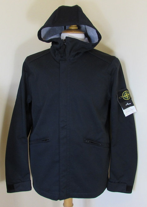 631544928 Stone Island 'Soft Shell-R Terry' Hooded Jacket in Dark Navy (V0020)