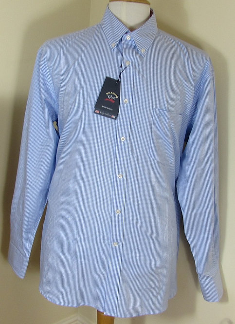 P16P1346 Paul & Shark Long Sleeve Shirt in White/Sky Blue check (110)