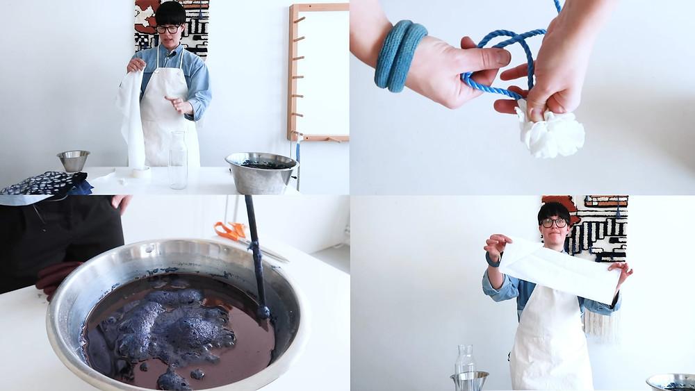 Bilder från kursen Färga shibori med indigo.