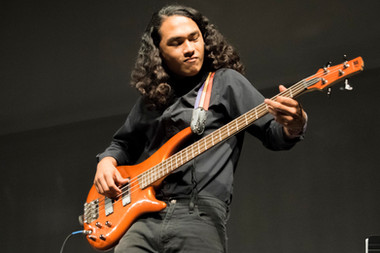 """Isaac Mejia performs, """"Summertime,"""" by George Gershwin on the bass in the Performing Arts Building on Thursday, Oct. 26, 2017 in Woodland Hills, Calif. Photo: Samantha Bravo"""