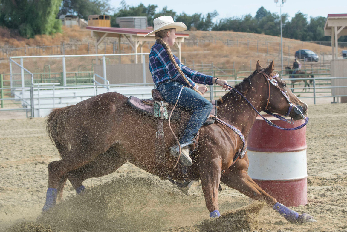 Makayla Cozatt rides her horse for the barrel races for the 8th Annual Parade of Breeds, held at the Pierce College Equestrian Center in Woodland Hills, Calif. On Nov. 11, 2017. Photo: Samantha Bravo