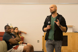 Vegan chef, Josue Solis gives students advice on living a fuller life and eating healthier at the Great Hall in Woodland Hills, Calif. for Vegan Day, on Thurs. Nov. 16, 2017. Photo: Samantha Bravo
