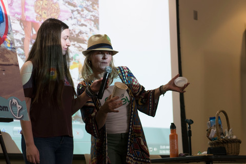 """Speakers, Betsy Samber (left) and Paige Parson-Roache (right), """"Vegan Rama Mama,"""" speaks for Vegan Day at the Great Hall in Woodland Hills, Calif. on Thurs. Nov. 16, 2017. Photo: Samantha Bravo"""