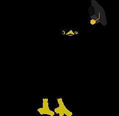 Illustrated black bird throwing graduation cap