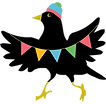 Illustrated blackbird with party streamers and a beanie