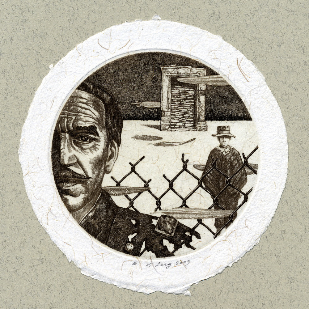 """""""Полковник Буэндиа"""", диам.100 мм, офорт, 2005"""