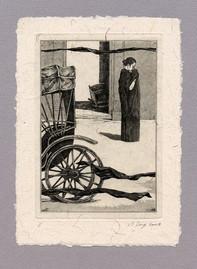 """Иллюстрация к рассказу Р. Киплинга """"Без благословения церкви"""" 100 х 140 мм, офорт, 2008"""