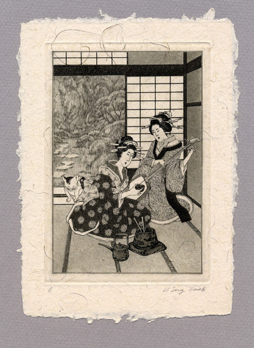 """Иллюстрация к рассказу Р. Киплинга """"Эссе по Японии"""" 100 х 140 мм, офорт, 2008"""