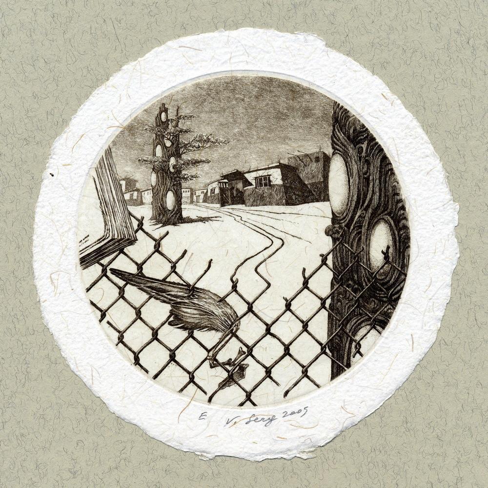 """Макондо"", диам.100 мм, офорт, 2005"