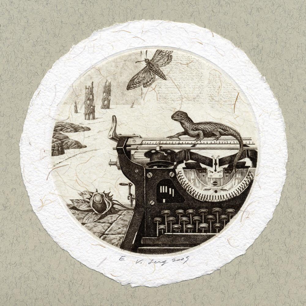 """""""Натюрморт с ящерицей"""", диам.100 мм, офорт, 2005"""