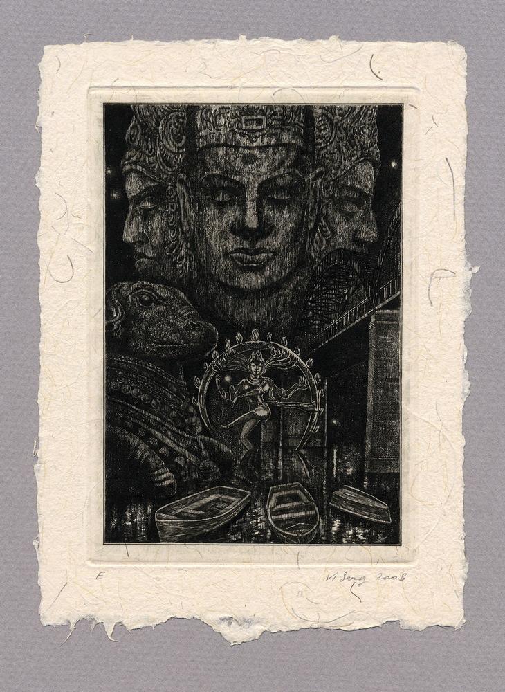 """Иллюстрация к рассказу Р. Киплинга """"Строители моста"""" 100 х 140 мм, офорт, 2008"""