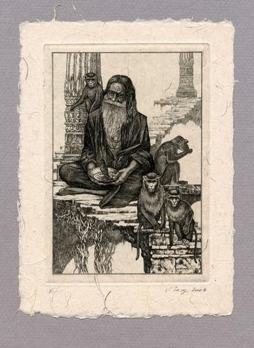 "Иллюстрация к рассказу Р. Киплинга ""Чудо Пуран Бгахата"" 100 х 140 мм, офорт, 2008"