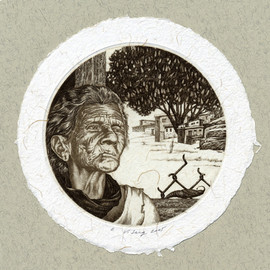 """Урсула"", диам.100 мм, офорт, 2005"
