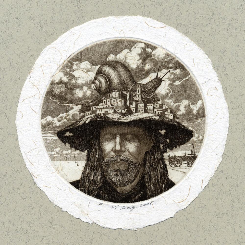 """""""Мелькиадес"""", диам.100 мм, офорт, 2005"""