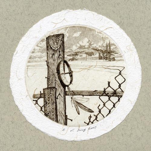 """""""Взвешивая ветер"""", диам.100 мм, офорт, 2005"""