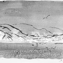 «Зима на Хоккайдо». Бумага, акварель,1991 г.