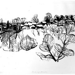 «Зима под Москвой». Автолитография. 1962 г.