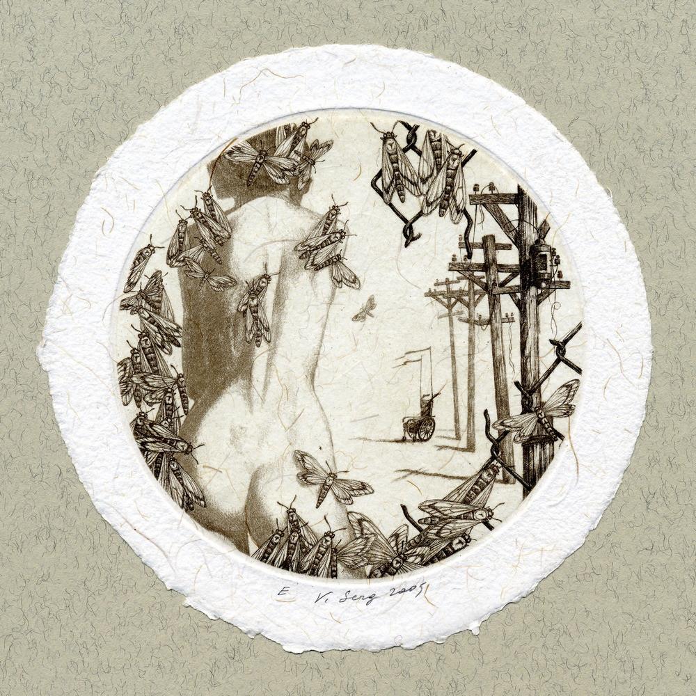 """""""Прекрасная Меме"""", диам.100 мм, офорт, 2005"""