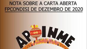 NOTA SOBRE A CARTA ABERTA FPCONDISIDE DEZEMBRO DE 2020