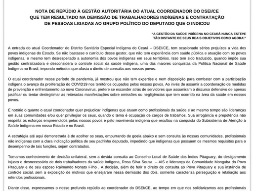 NOTA DE REPÚDIO A GESTÃO AUTORITÁRIA DO ATUAL COORDENADOR DO DSEI/CE