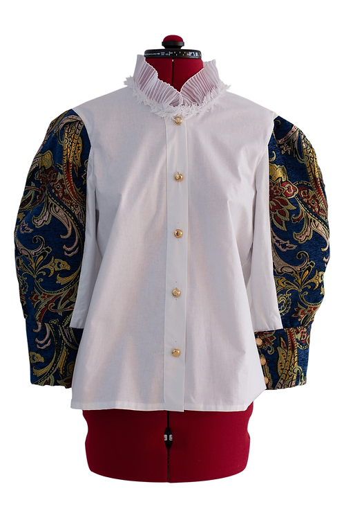 White shirt with brocade sleeves