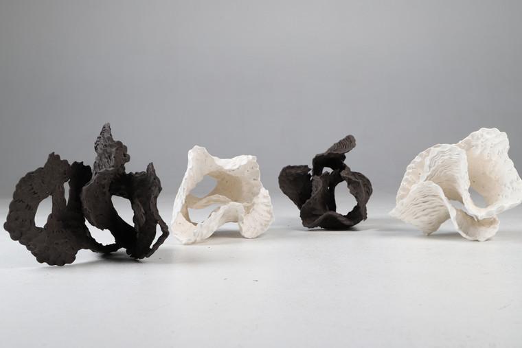 SamGold, Haptic studies, porcelain and black stoneware, 2019