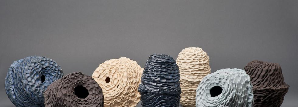 SamGSam Gold, Stillness votive vessel series, 2020, cobalt oxide, porcelain and stoneware