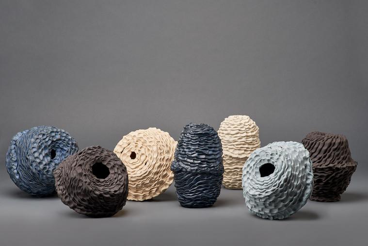 Sam Gold, Stillness votive vessel series, 2020, cobalt oxide, porcelain and stoneware